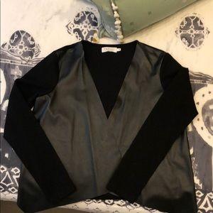 Velvet faux leather black cardigan/blazer